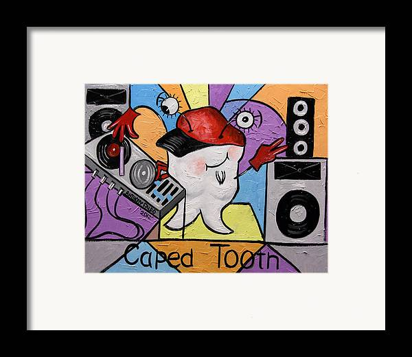 Caped Tooth Framed Print featuring the painting Caped Tooth by Anthony Falbo