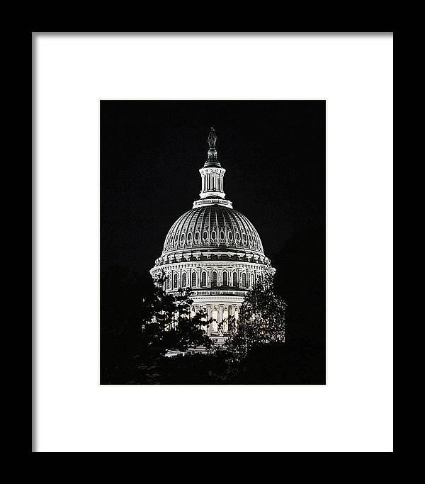Us Capitol Framed Print featuring the photograph Capitol At Night by Ronald Fleischer