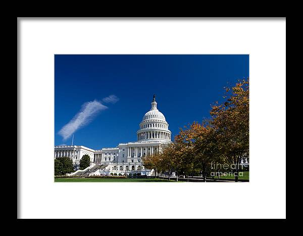 Photograph Framed Print featuring the photograph Capitol Building Autumn Foliage by Jim Pruitt