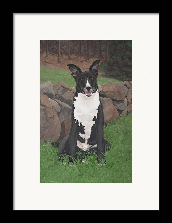 Black Dog Framed Print featuring the painting Capone by Sandra Chase