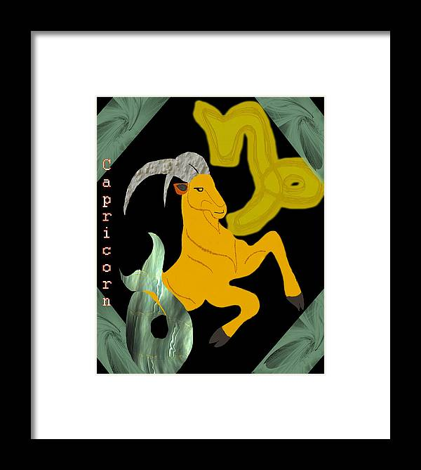 Capricorn Framed Print featuring the digital art Capricorn by Camille Lopez