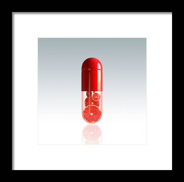 Capsule Framed Print featuring the photograph Capsule With Citrus Fruit by Johan Swanepoel