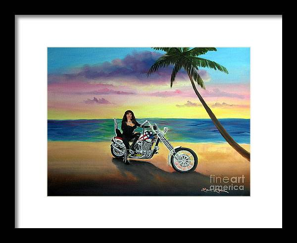 Harley Davidson Framed Print featuring the painting Captain America by Lora Duguay