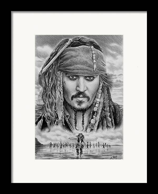 Andrew Read Framed Print featuring the drawing Captain Jack Sparrow by Andrew Read