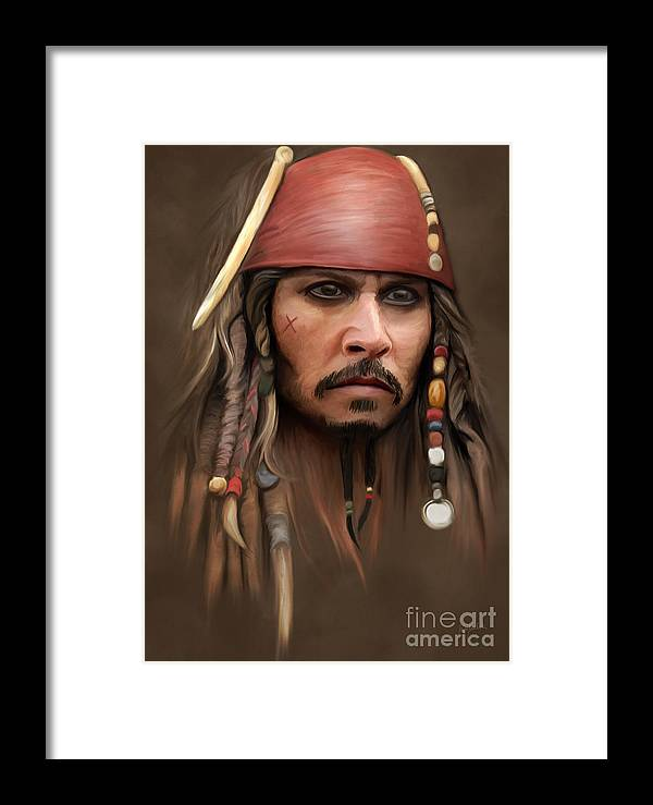 Captain Framed Print featuring the painting Captain Jack Sparrow by Ivan Pawluk