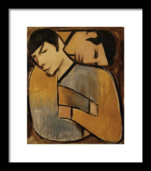 Spock Framed Print featuring the painting Captain Kirk Spock Cubism Art Print by Tommervik
