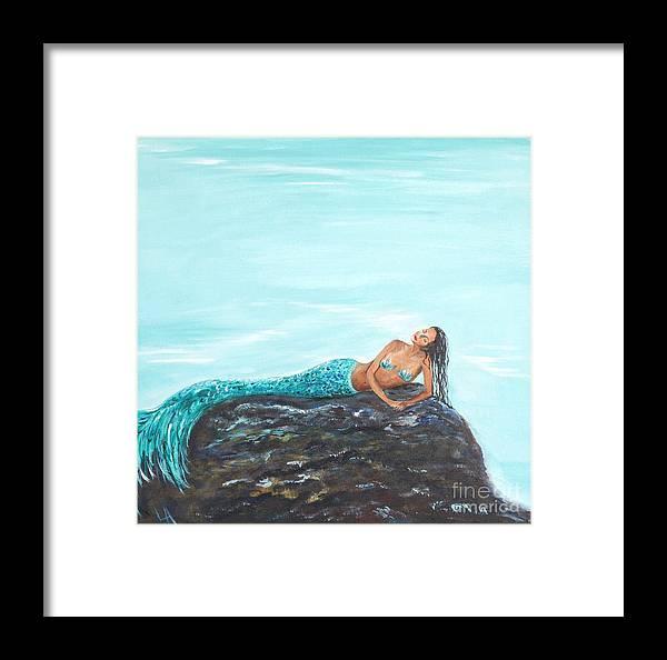 Mermaid Art Framed Print featuring the painting Captivating Mermaid by Leslie Allen