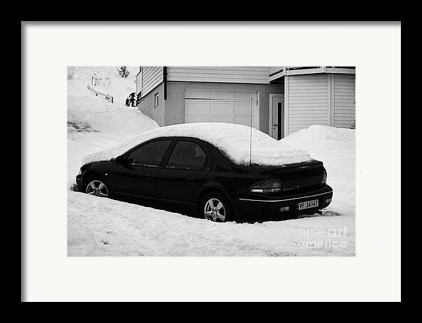 Car Framed Print featuring the photograph Car Buried In Snow Outside House In Honningsvag Norway Europe by Joe Fox