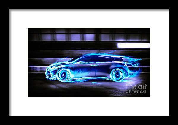Car Burning In Blue Flames Racing In A Tunnel Framed Print by ...