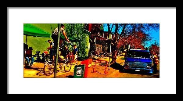 Filter Framed Print featuring the digital art Car Free Day Hijinx by Josie Boyce