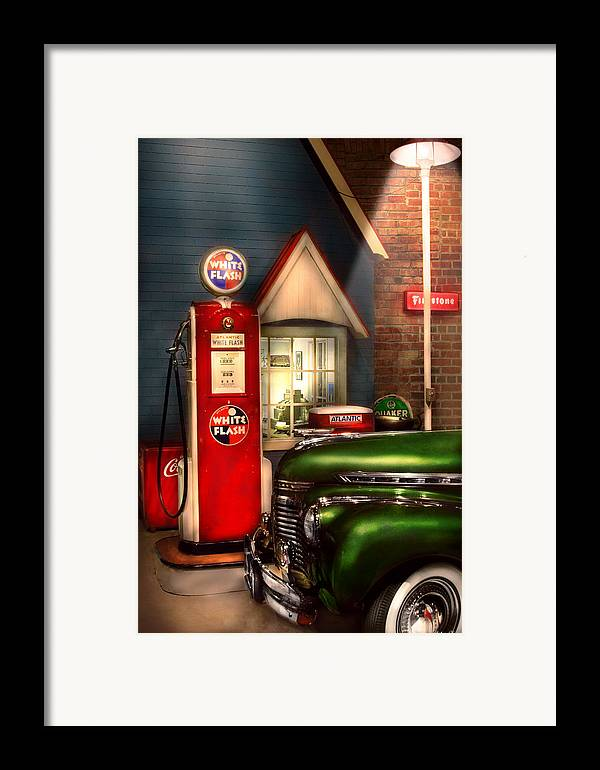Savad Framed Print featuring the photograph Car - Station - White Flash Gasoline by Mike Savad