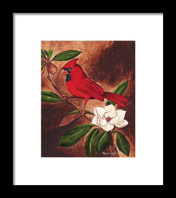 Birds Framed Print featuring the painting Cardinal II by Brandy House