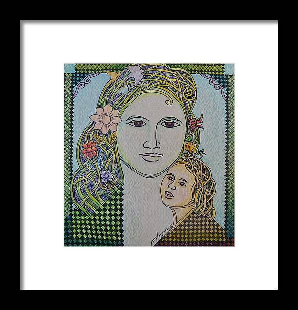 Mother Framed Print featuring the drawing Care For The Future by Raul Agner