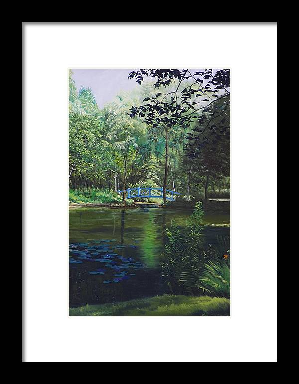 Landscape Framed Print featuring the painting Carey's Pond by Kenneth Young