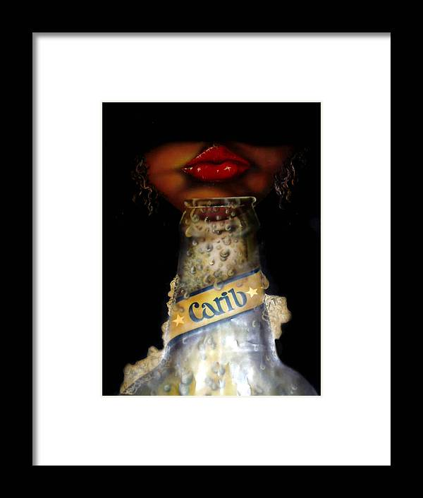 Alcohol Framed Print featuring the painting Carib Beer by Owen Lafon
