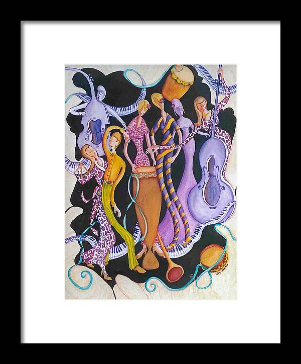 Dancers Framed Print featuring the painting Caribbean Calypso by Arleen Barton