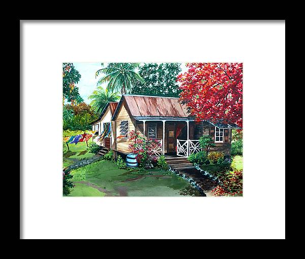 House Painting Caribbean Painting Tropical Painting West Indian Painting Old House Painting Flamboyant Tree Painting Poinciana Painting Red Painting Mango Tree Painting Watercolor Painting Greeting Card Painting Framed Print featuring the painting Caribbean Life by Karin Dawn Kelshall- Best