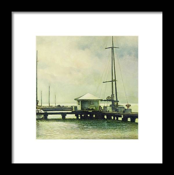 Caribbean Framed Print featuring the painting Caribbean Marina-3 by Michael Frank