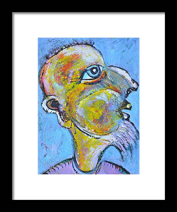 Acrylics Framed Print featuring the painting Caricature of a Wise Man by ITI Ion Vincent Danu