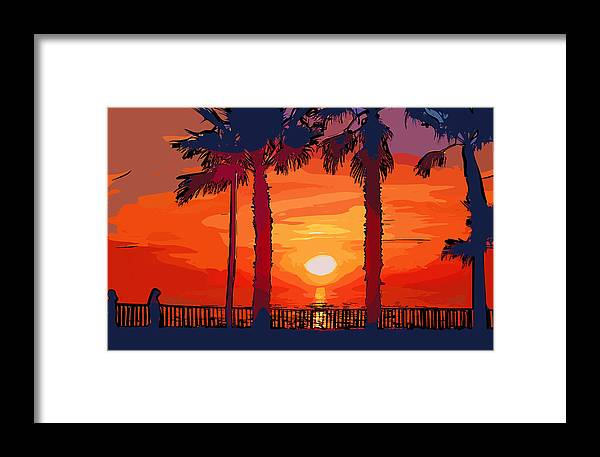 Watercolor Framed Print featuring the digital art Carlsbad Ca Sunset 2 by Kirt Tisdale