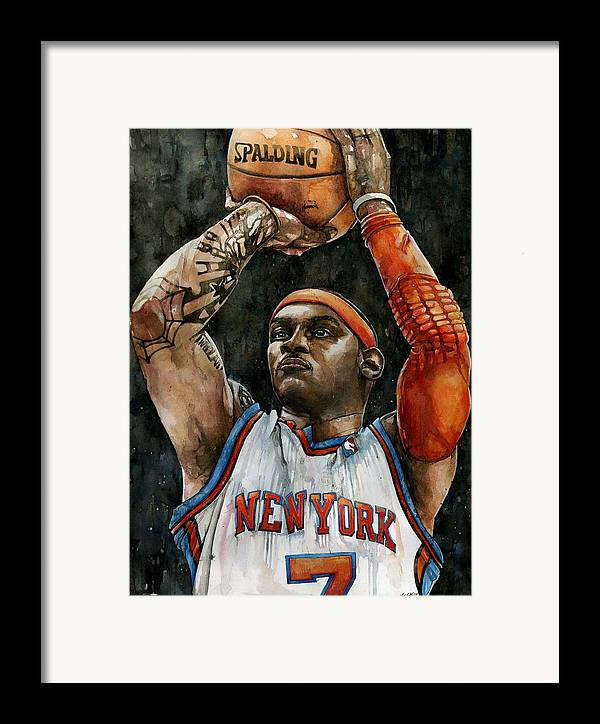 Carmelo Framed Print featuring the painting Carmelo Anthony by Michael Pattison
