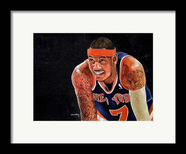 New York Knicks Framed Print featuring the painting Carmelo Anthony - New York Knicks by Michael Pattison