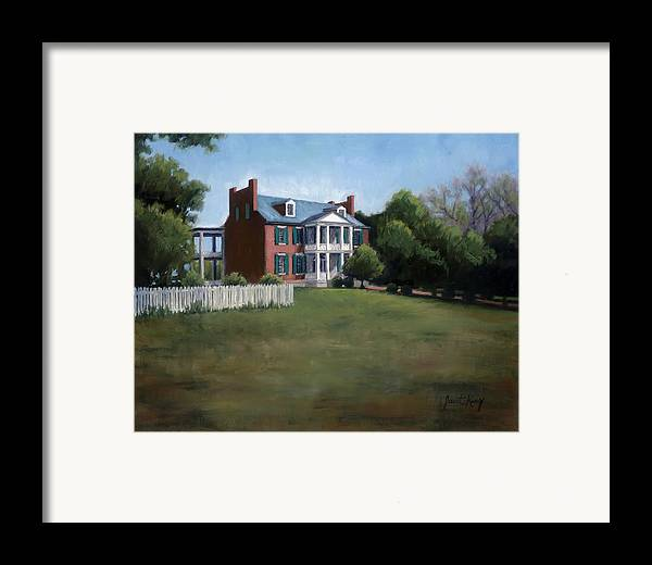 Carnton Plantation Framed Print featuring the painting Carnton Plantation In Franklin Tennessee by Janet King