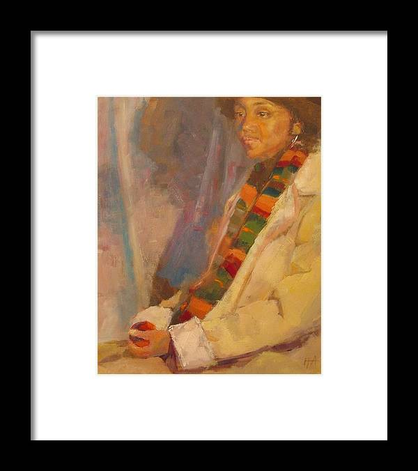 African-american Framed Print featuring the painting Carol in Winter by Irena Jablonski