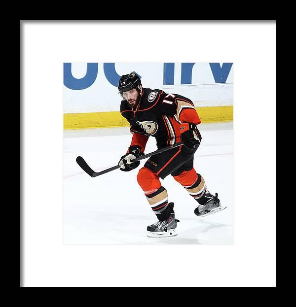 People Framed Print featuring the photograph Carolina Hurricanes V Anaheim Ducks by Debora Robinson