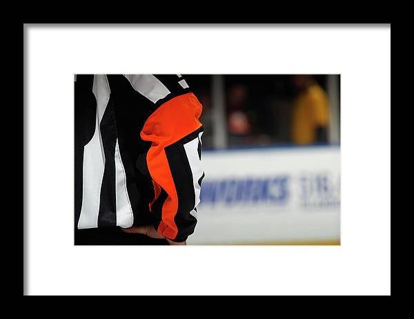 Working Framed Print featuring the photograph Carolina Hurricanes V New York Islanders by Bruce Bennett