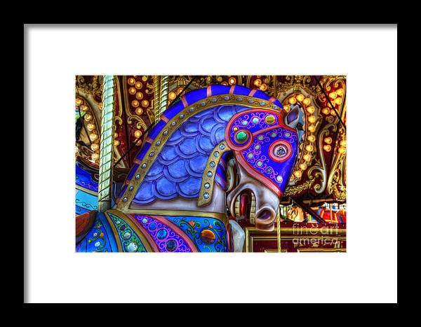 Carousel Framed Print featuring the photograph Carousel Beauty Blue Charger by Bob Christopher