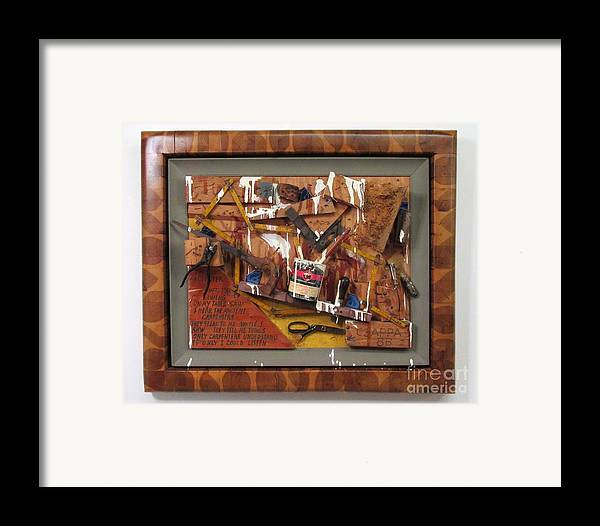 Czappa Framed Print featuring the relief Carpenters Lament #15 by Bill Czappa