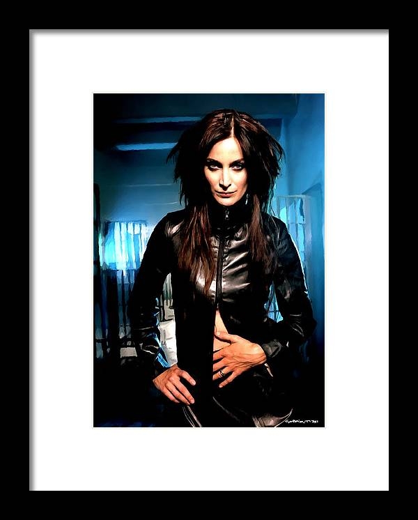 Actress Framed Print featuring the digital art Carrie-Anne Moss by Gabriel T Toro