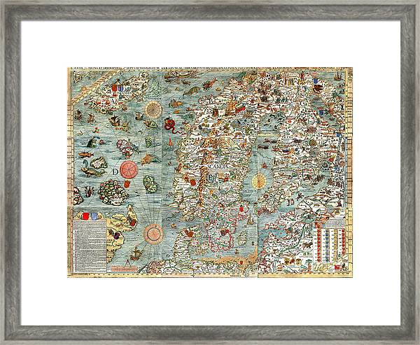 photo about Scandinavia Map Printable referred to as Carta Marina Map Of Scandinavia By way of Olaus Magnus - 1539 Framed Print
