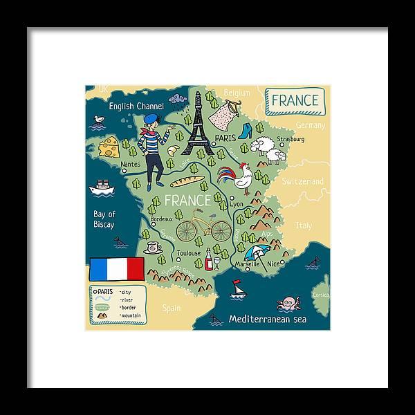 Map Of France Cartoon.Cartoon Map Of France Framed Print By Natasha Chuen