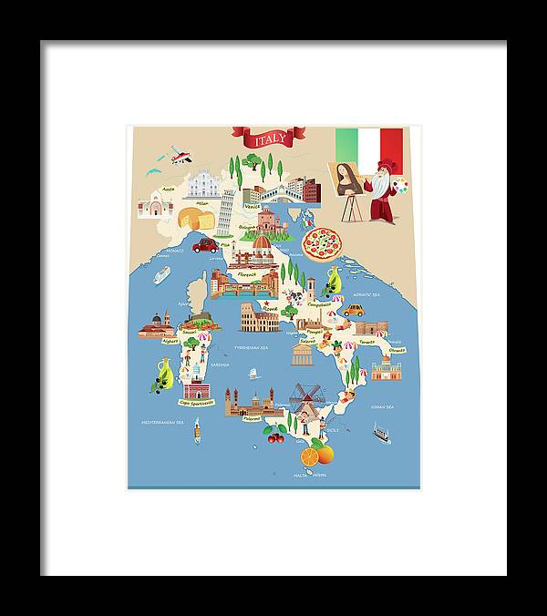 Adriatic Sea Framed Print featuring the digital art Cartoon Map Of Italy by Drmakkoy