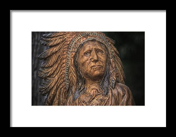 Indian Framed Print featuring the photograph Carved Wooden Indian by Randy Steele