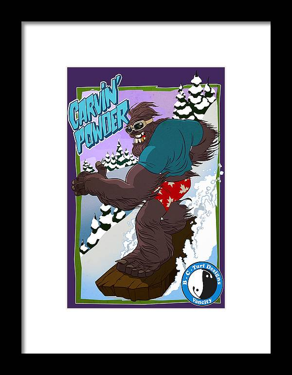 Sasquatch Framed Print featuring the drawing Carvin' Powder by Nelson Dedos Garcia