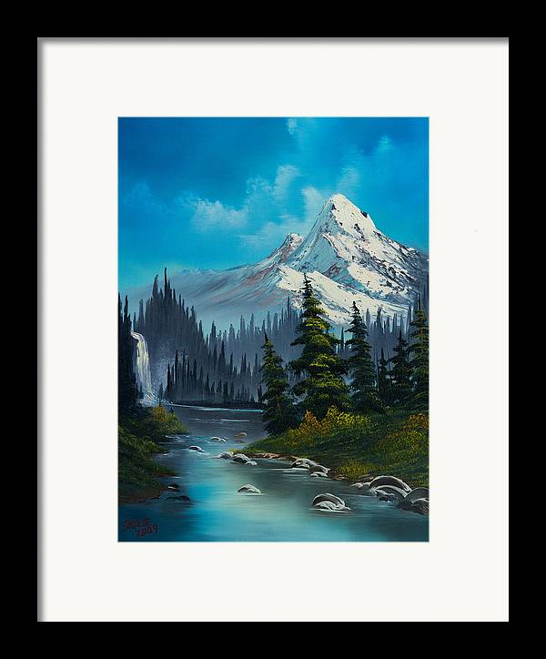 Landscape Framed Print featuring the painting Cascading Falls by C Steele