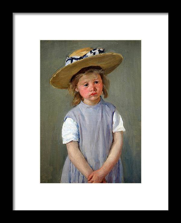 Child In A Straw Hat Framed Print featuring the photograph Cassatt's Child In A Straw Hat by Cora Wandel