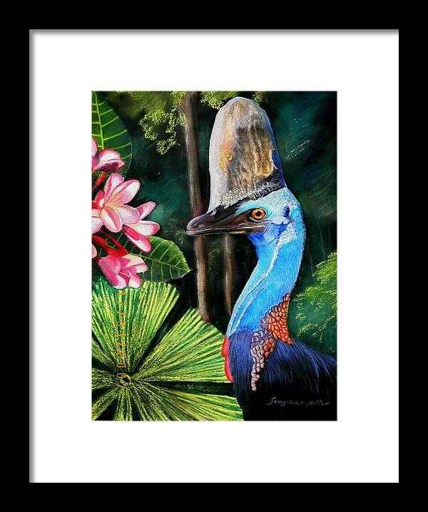 Painting. Mixed Medium Painting Framed Print featuring the painting Cassowary- King Of The Rainforest by Sandra Sengstock-Miller