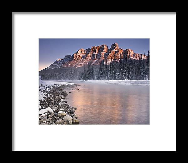 Castle Mountain Framed Print featuring the photograph Castle Mountain And The Bow River by Richard Berry