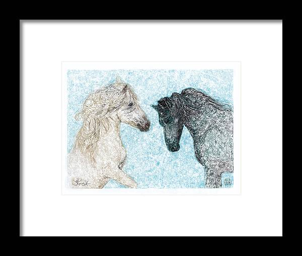 Horse Framed Print featuring the painting Castor And Pollux by Jerry Kool