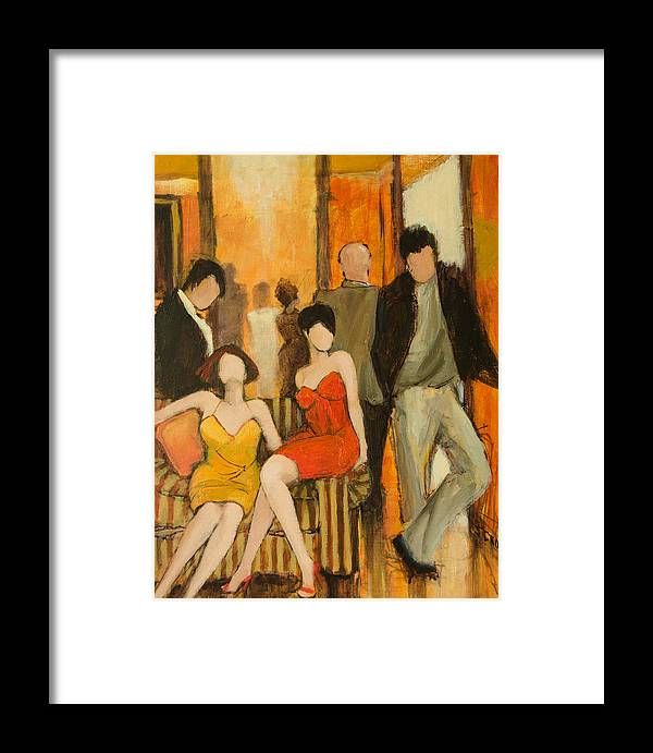 Figures Framed Print featuring the painting Casual Encounters by Jennifer Croom