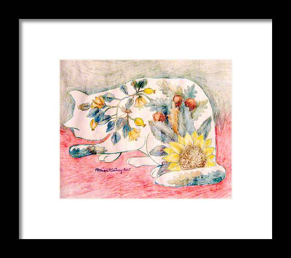 Cat Framed Print featuring the painting Cat 2 by Monique Montney