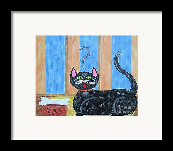 Cat Framed Print featuring the painting Cat And Bone by JoNeL Art
