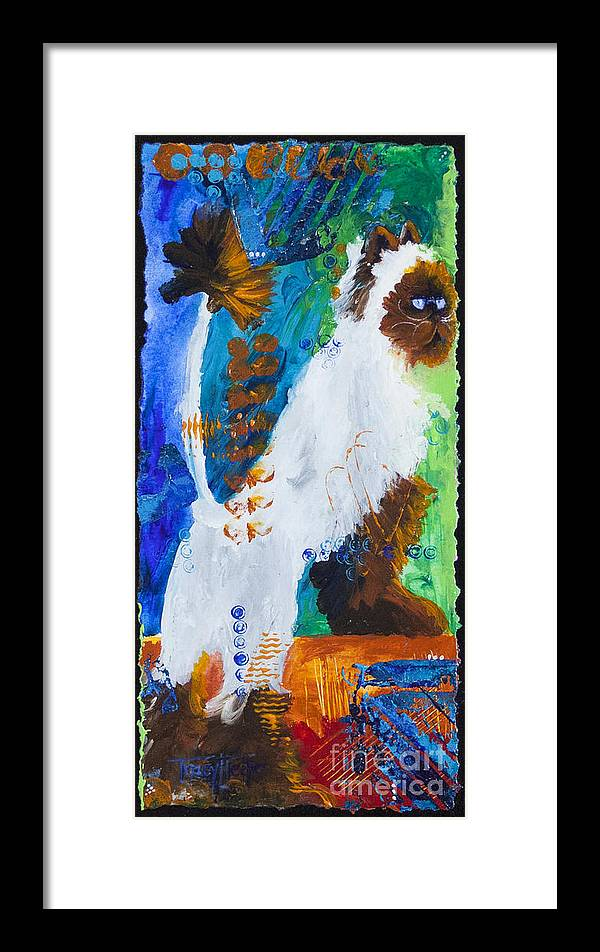 Abstract Framed Print featuring the painting Cat At The Window by Tracy L Teeter