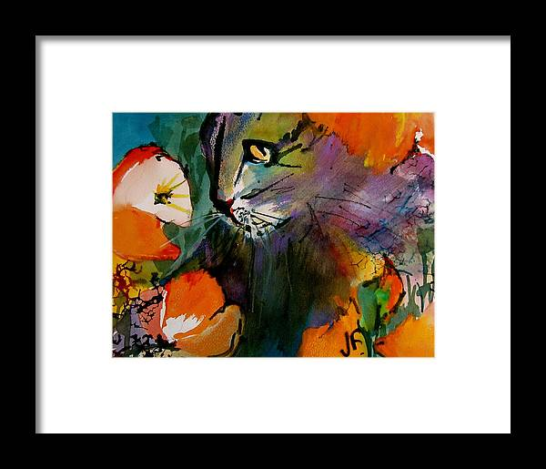 Cats Framed Print featuring the painting Cat In The Poppies by Jane Ferguson
