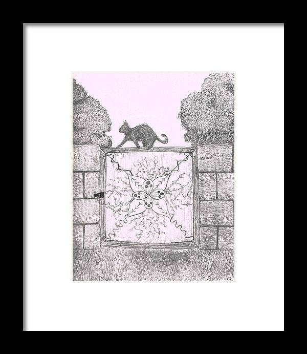Cat Framed Print featuring the drawing Cat On A Gate by Nicole DePreker