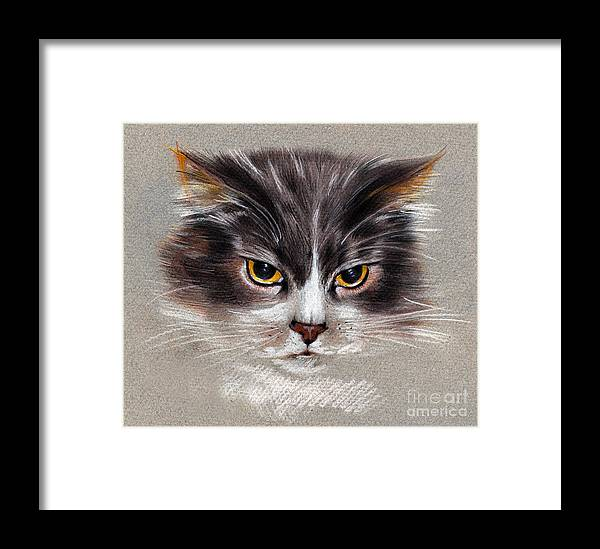 Cat Portrait Framed Print featuring the drawing Cat Portrait Yellow Eyes by Daliana Pacuraru